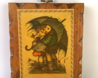 Hummel Children Plaque Decoupage on Carved Wood, Kids with Green Umbrella in Rain, Grass and Flowers, Brother and Sister, Vintage 60s Decor