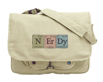The Elements of Nerdy Embroidered Canvas Messenger Bag