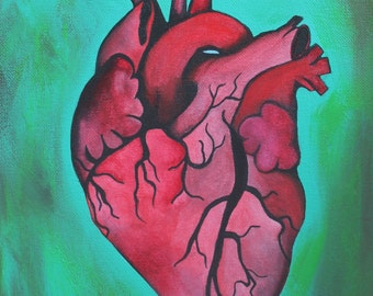 Giclee PRINT 9x12 Beating Heart Anatomical Human Anatomy Medical Original Acrylic Painting Contemporary Abstract Minimalist