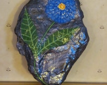 Hand Painted Rock, Handpainted stone, Home Decor, Outdoor Decor, Garden Decor , Purple Rock with Blue Zinnia Flower  100% goes to Charity