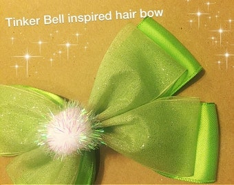 Tinker Bell inspired hair bow