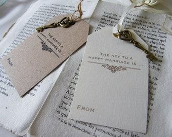 Vintage Wedding 'Key to a Happy Marriage' Luggage Label Style Tags Wishing Tree