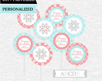 Personalized Coral and Pale Turquoise Cupcake Toppers Party Decoration PRINTABLE DIY (PDFL001)
