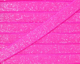 Neon Pink 3/8 inch Frosted Glitter Elastic - Elastic For Baby Headbands and Hair Ties - 5 Yards of 3/8 inch Glitter FOE