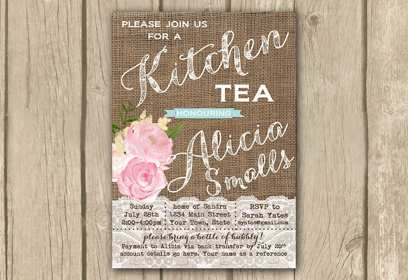 Kitchen Tea Invitation Bridal Kitchen Tea Invite Bridal High Tea