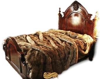 Plush Faux Fur Bedspread - Light Brown Wolf Fur - Backed with Soft Minky Cuddle Fur - Fur Accents Original Designs - USA