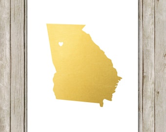8x10 Georgia State Print, Geography Wall Art, Metallic Gold Art, Georgia Poster, Office Art Print, Home Decor, Instant Digital Download