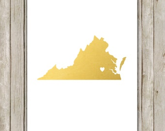 8x10 Virginia State Print, Geography Wall Art, Metallic Gold Art, Virginia State Poster, Office Print, Home Decor, Instant Digital Download