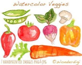 Watercolor Clipart - Watercolor Vegetables Garden - Watercolor Clipart
