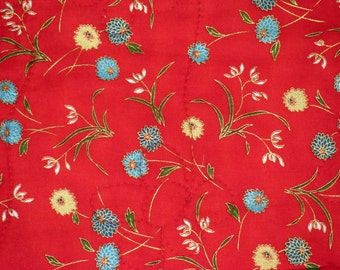 Flowers On Red - Throw Quilt With Pizzazz!
