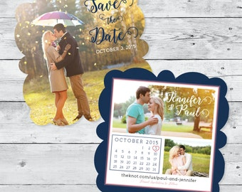 5x5 Die Cut Save the Date in Navy with Pink Accents, Featuring Full Photo on Front of Card and Calendar on Back