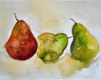 ORIGINAL Watercolor Painting, Pears Still Life Painting 6x8 Inch