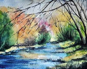 Original Watercolor Painting, Colorful River Landscape in Bright Colors 5x7 inch