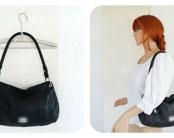 Vintage 1990s 90s Esprit Black Leather Shoulder Bag