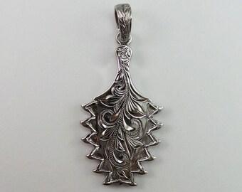 """Hawaiian Jewelry Black Chrome Hawaiian Pendant """"Lei O Mano"""" 2  (LBP0954bc)"""