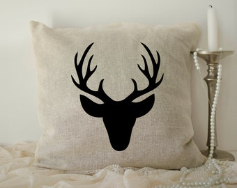 Burlap Deer Pillow cover, Christmas Pillows, antler pillow, Rustic Deer pillow case, Deer Silhouette, Deer Throw Pillow, Home Décor,