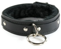 1 Ring Fuzzy Slave Collar - Leather, ORing, Locking Buckle