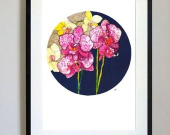 Gold Orchids // A4 Giclée Print // Illustration