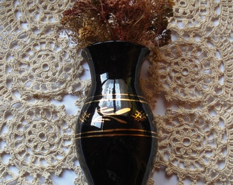 Vintage Ceramic Vase, Vintage Black Vase with Golden Rims and ornaments,1960s