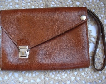 Vintage leather brown envelope bag, , Man leather wallet, Gift for him, Travel pouch,1980s