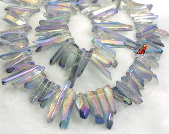 Polished Titanium Coated Mystic Drilled Crystal Quartz Points smooth gemstone pendant beads spike beads,15 inches