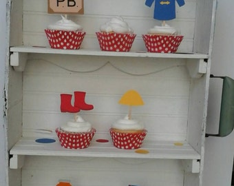 6 piece Paddington Bear inspired cupcake toppers! Birthday or for Baby Shower!