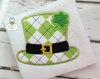 St Patricks Day Hat with Shamrock  St Patricks Day Shirt or Bodysuit, Shamrock Shirt, Leprechaun Hat Shirt, St Patricks Day Shirt