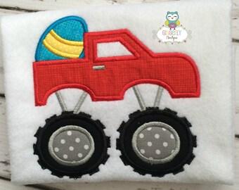 Monster Truck Carrying Easter Egg Shirt or Bodysuit, Boy Easter Shirt, Easter Monster Truck Shirt, Boy Egg Hunt Shirt, Easter Shirt for Boy