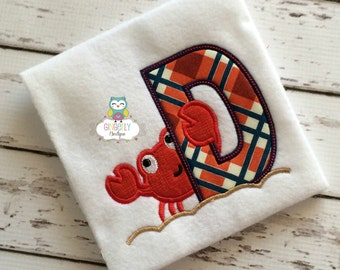 Crab Alpha Shirt with Plaid, Shirt or Bodysuit, Summer Vacation Shirt, Beach Shirt, Cruise Shirt