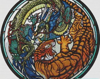Tiger and Dragon Stained Glass  PDF Cross Stitch Pattern