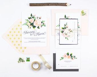 Printable blush and Slate Romantic wedding invitation