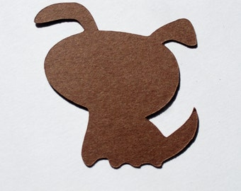 Brown Puppy Dog Table Confetti / Baby Shower Table Scatter Decor Decoration Scrapbook Embellishments / 50 Pieces
