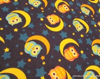 Flannel Fabric - Night Owls - 1 yard - 100% Cotton Flannel