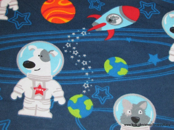 Flannel fabric dogs in space by the yard 100 cotton for Space flannel fabric