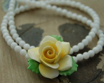 Vintage Yellow Rose necklace