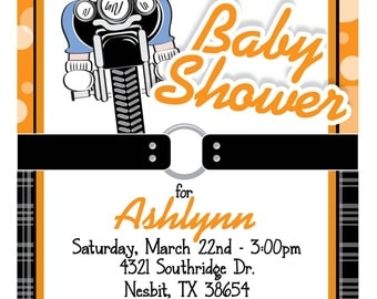 Custom Baby on Motorcycle Baby Shower Invitation in Orange