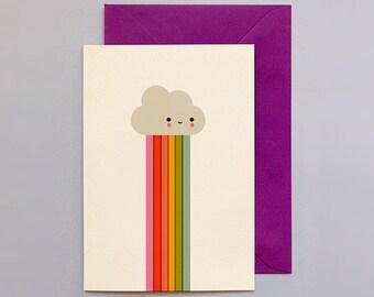 Cloud Magic — Greetings Card / Studio Binky / Nursery Art / Kids Room Art / Rainbow / Weather / Rainbow Baby