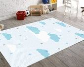 Cloud Rug, Star Rug, Cloud Nursery, Star Nursery Decor, Blue And White Decor, Blue And Grey Nursery, Star Decor, Kids Room Rug, Playroom Rug