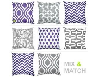1 pillowcase EMILY 40 x 40 cm retro pattern linen look purple white