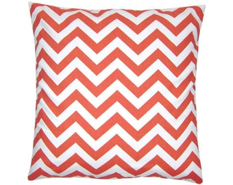 CHEVRON pillow red korall white zigzag stripes 40 x 40 cm