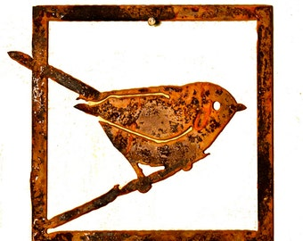T307 Bushtit Tile | Rustic Cottage Chic Bushtit Tile Wall Decor | Rusty Birds by Elegant Garden Design