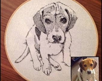 Custom - Intricately hand stitched Pet Portrait Embroidery