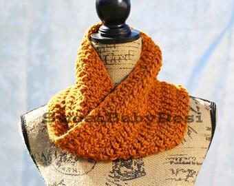 Gold Infinity Scarf, Crochet Adult Mustard Cowl