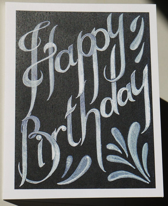 Happy Birthday Card in Black and White Blank card with