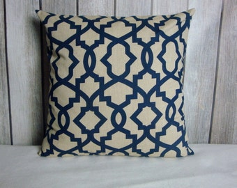 Navy Pillow Cover. Pillows. Pillow Cover. Navy Tan Pillow. Decorative Pillow
