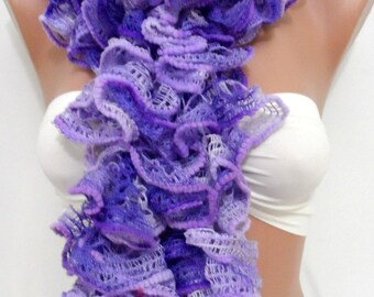 Ruffle scarf, Christmas scarf, knitted scarf - Frilly scarf - neckwarmer,handmade- Lilac winter scarfs, lilac scarf, Knit scarf