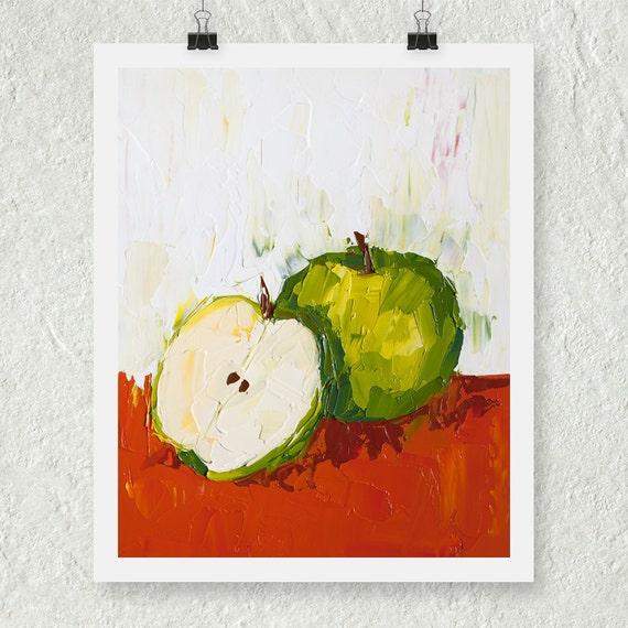 Items similar to green apple print kitchen art print - Green apple kitchen decor ...