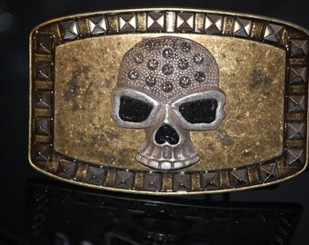 Large Vintage Skull  Belt Buckle