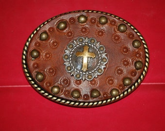Cross conchos  Leather Vintage Belt Buckle