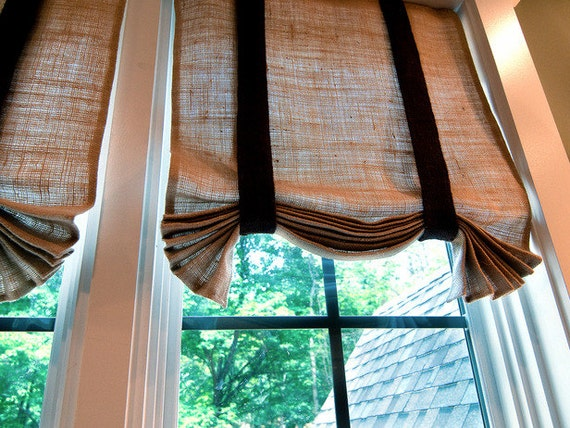 Items Similar To Tie Up Burlap Valance 36 X 64 With